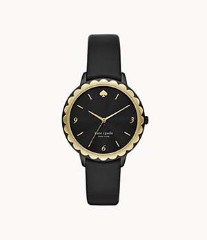 kate spade new york morningside three-hand black leather watch