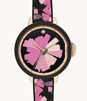 kate spade new york park row three-hand pink flower-print silicone watch