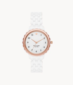 kate spade new york morningside three-hand white ceramic watch