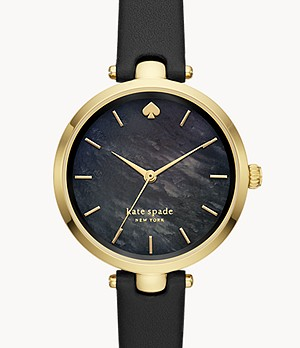 kate spade new york holland three-hand black leather watch