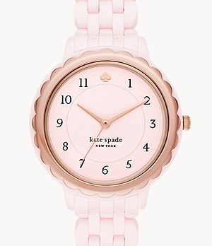 kate spade new york morningside three-hand pink ceramic watch