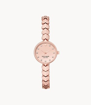 kate spade new york hollis three-hand rose gold-tone steel watch