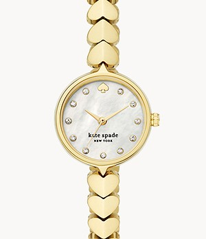 kate spade new york hollis three-hand gold-tone steel watch