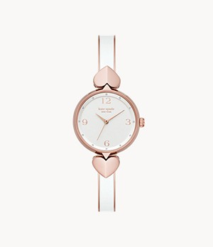 kate spade new york hollis three-hand rose gold-tone stainless steel watch