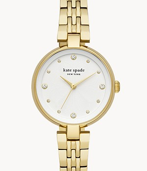 kate spade new york annadale three-hand gold-tone stainless steel watch