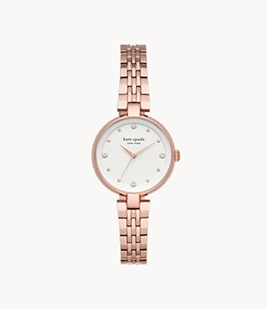 kate spade new york annadale three-hand rose gold-tone stainless steel watch