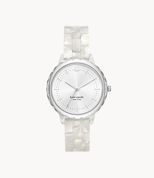 kate spade new york morningside three-hand white acetate watch