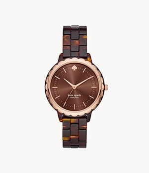 kate spade new york morningside three-hand tortoise acetate watch