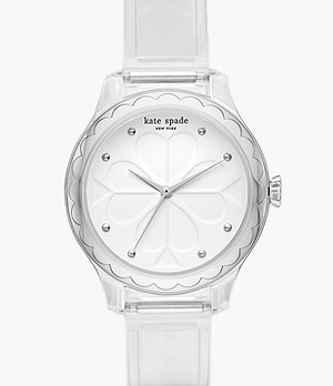 kate spade new york rosebank three-hand clear polyurethane watch