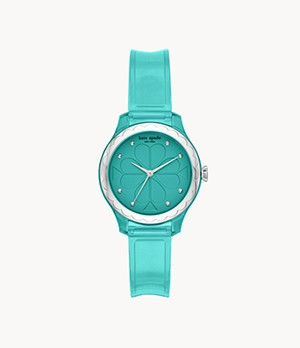 kate spade new york rosebank three-hand green polyurethane watch