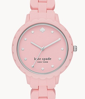 kate spade new york morningside three-hand pink silicone watch