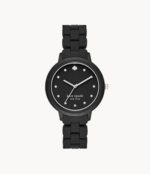kate spade new york morningside three-hand black silicone watch