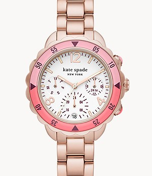 kate spade new york baywater multifunction rose gold-tone stainless steel watch