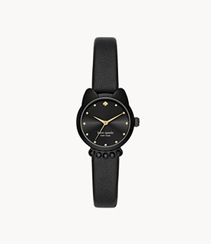kate spade new york three-hand black leather cat watch