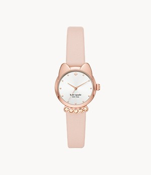 kate spade new york three-hand blush leather cat watch