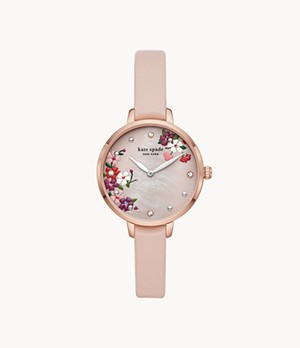 kate spade new york metro two-hand blush leather watch