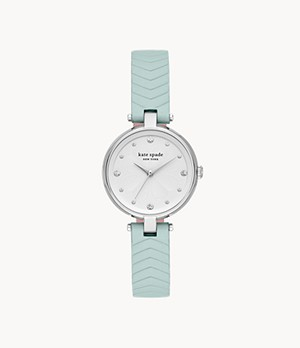 kate spade new york annadale three-hand mint leather watch