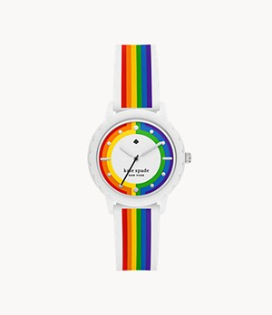 kate spade new york morningside three-hand rainbow-striped silicone watch