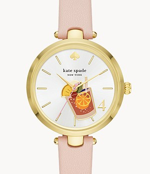 holland three-hand blush leather cocktail watch