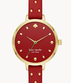 kate spade new york metro three-hand red leather strawberry watch