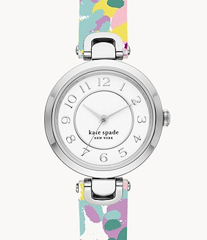 kate spade new york rainey park three-hand multicolor-print reversible leather watch