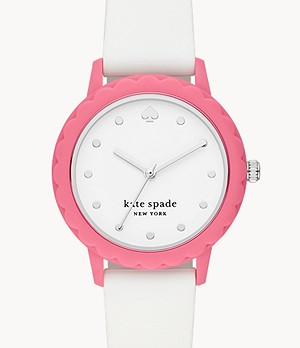 kate spade new york morningside three-hand white silicone watch