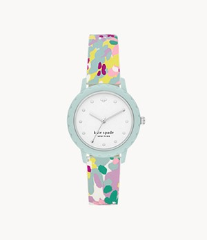 kate spade new york morningside three-hand multicolored silicone watch