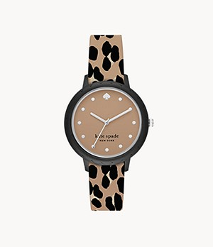 kate spade new york morningside leopard-print silicone watch