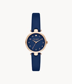 kate spade new york holland three-hand blue leather watch