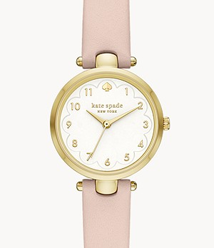 kate spade new york holland three-hand pink leather watch
