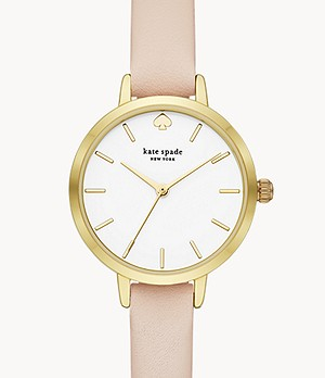 kate spade new york metro three-hand blush leather watch