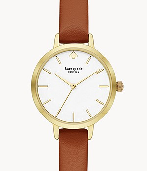 kate spade new york metro three-hand brown leather watch
