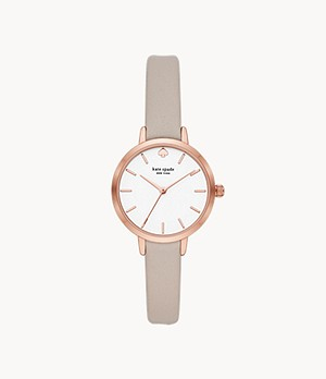 kate spade new york metro three-hand grey leather watch