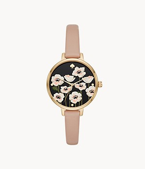kate spade new york metro three-hand flower watch and earring set