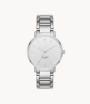 kate spade new york gramercy three-hand metal watch