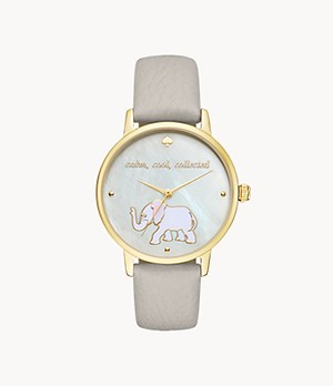 kate spade new york metro three-hand grey leather elephant watch