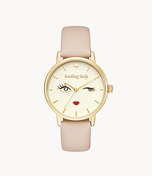 kate spade new york metro three-hand vachetta leather winking eye watch