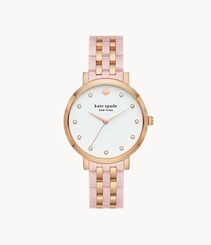 kate spade new york monterey three-hand two-tone stainless steel and acetate watch