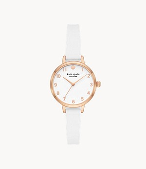 kate spade new york metro three-hand white silicone watch