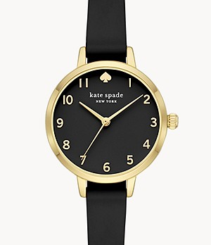 kate spade new york metro three-hand black silicone watch