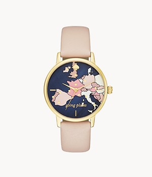 kate spade new york metro map three-hand vachetta leather watch