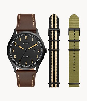Limited Edition Forrester Three-Hand Brown Leather Watch and Interchangeable Strap Box Set