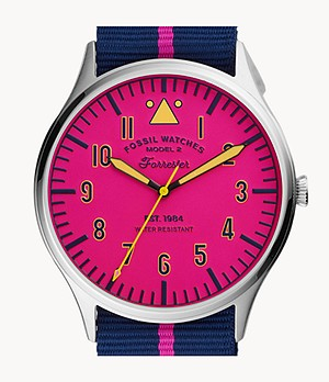 Limited Edition Herrenuhr Forrester Nylon Schwarz/Pink gestreift