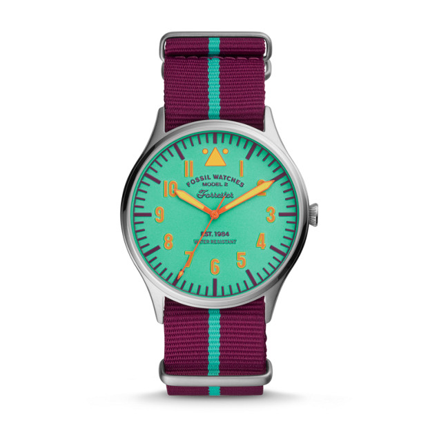 Limited Edition Forrester Three Hand Purple Striped Nylon Watch by Fossil