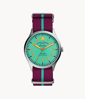 Limited Edition Forrester Three-Hand Purple Striped Nylon Watch