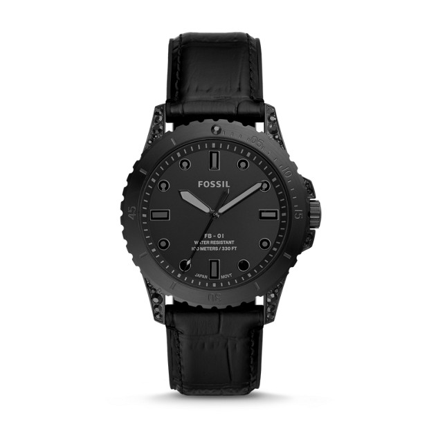 Limited Edition Fb 01 Three Hand Black Leather Watch by Fossil