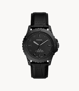 Limited Edition FB-01 Three-Hand Black Leather Watch