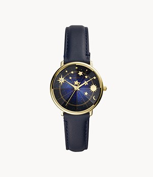 Limited Edition Prismatic Mystic Three-Hand Navy Leather Watch