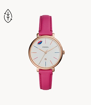 Limited Edition Jacqueline Three-Hand Date Hot Pink Leather Watch