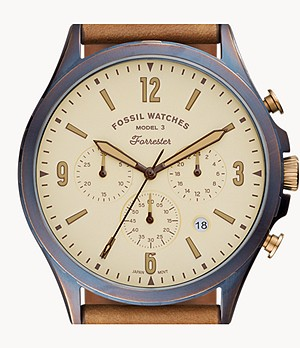 Limited Edition Curator Series Forrester Chronograph Tan Leather Watch